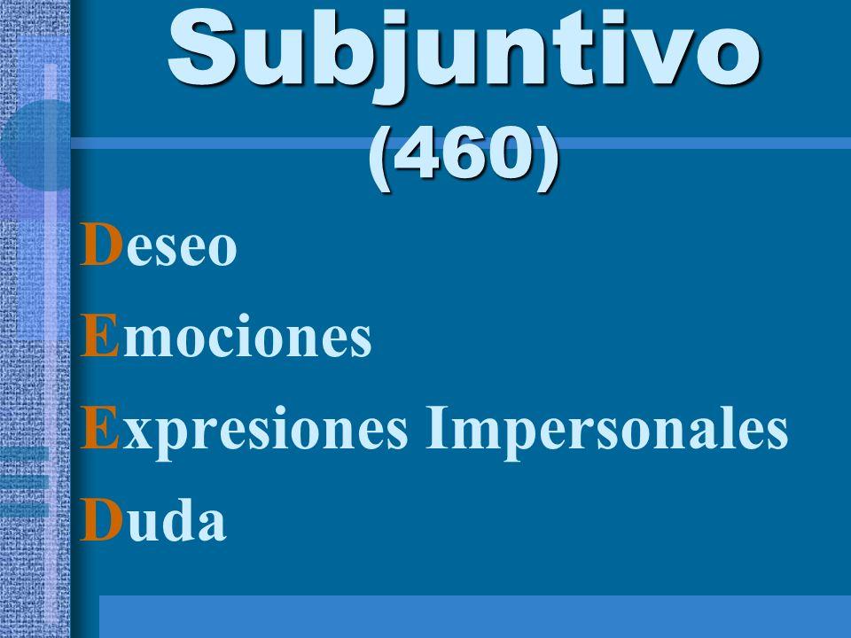Subjuntivo (460) Deseo Emociones Expresiones Impersonales Duda