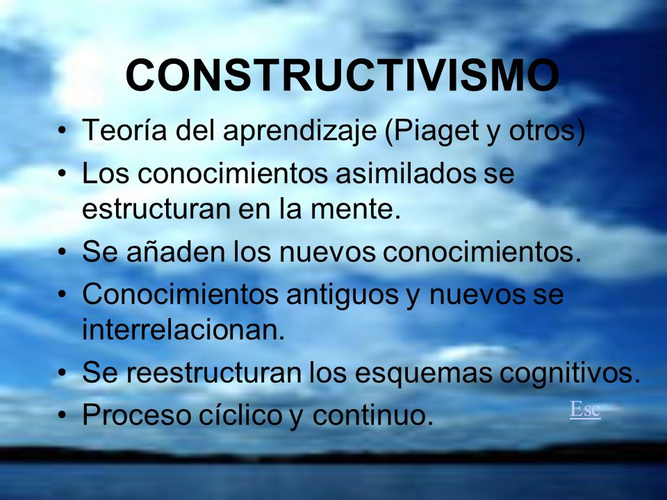 CONSTRUCTIVISMO Teoría del aprendizaje (Piaget y otros)