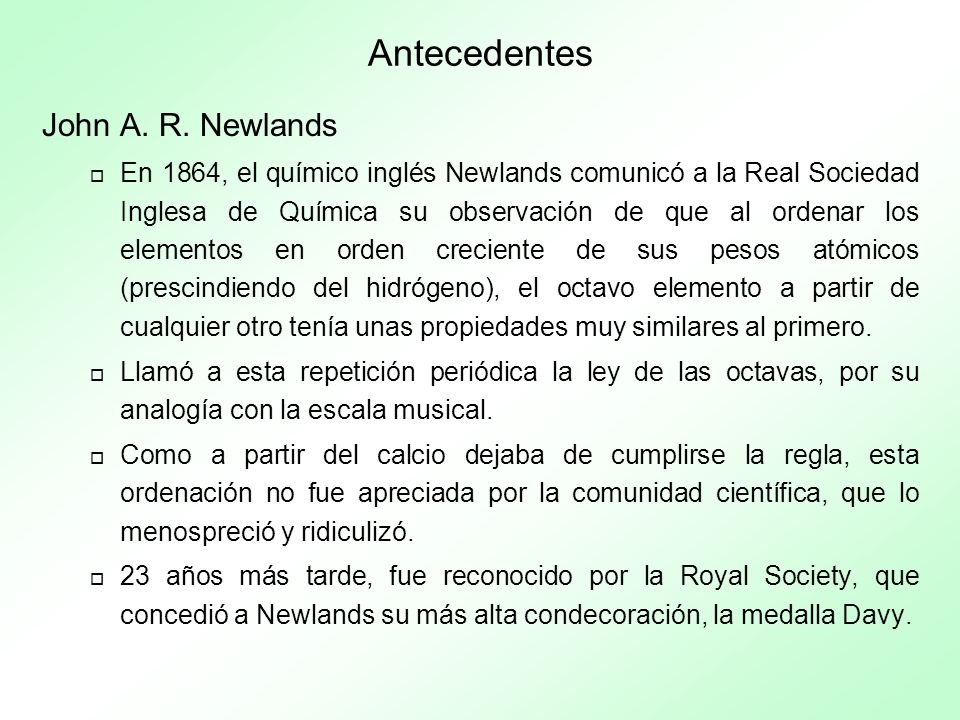 Antecedentes John A. R. Newlands