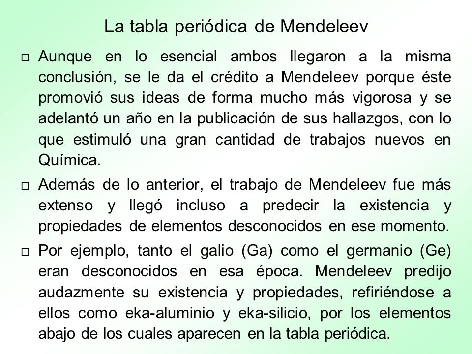 La tabla periódica de Mendeleev
