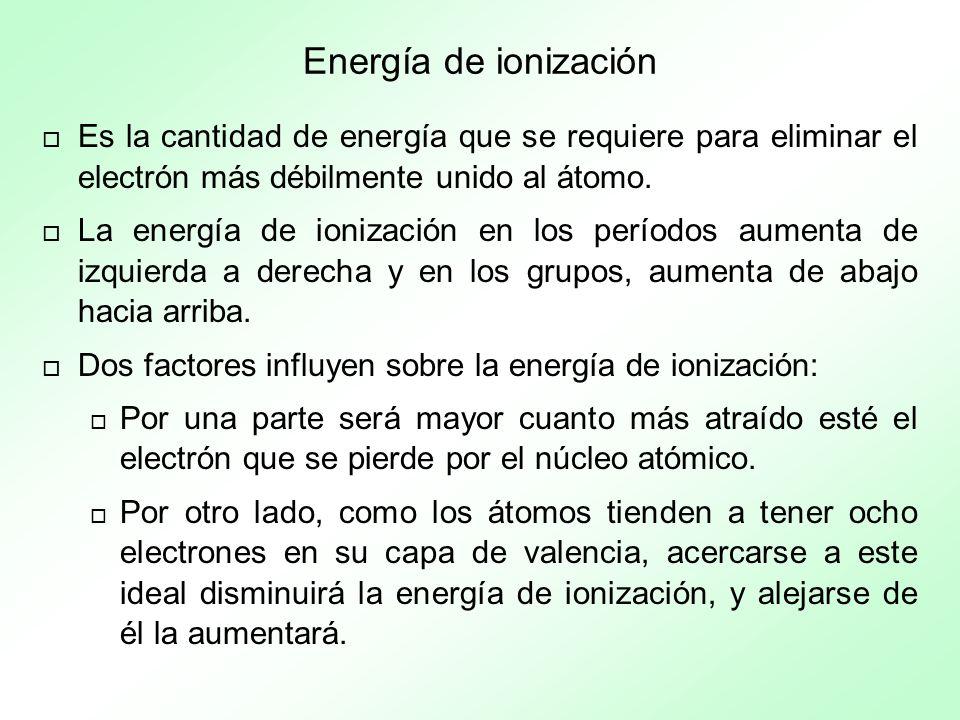 Energía de ionización Es la cantidad de energía que se requiere para eliminar el electrón más débilmente unido al átomo.