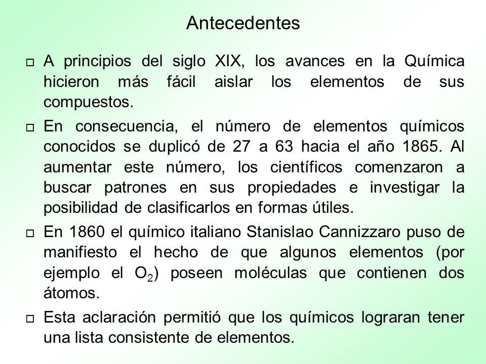 Antecedentes A principios del siglo XIX, los avances en la Química hicieron más fácil aislar los elementos de sus compuestos.