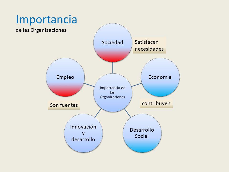 Importancia de las Organizaciones Satisfacen necesidades contribuyen