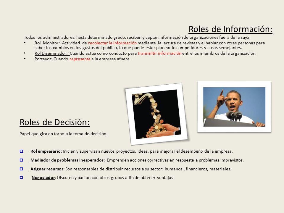 Roles de Información: Roles de Decisión: