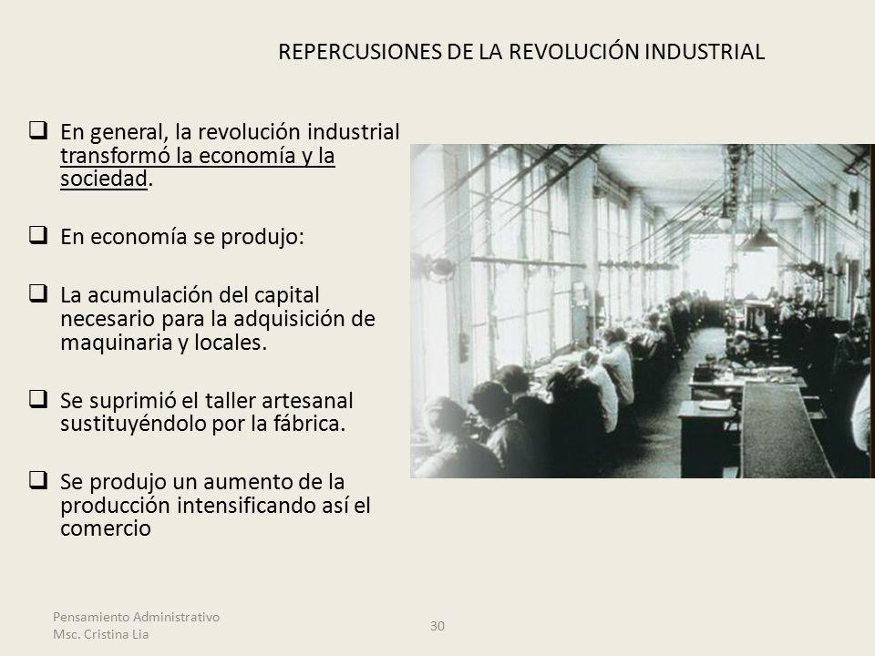 REPERCUSIONES DE LA REVOLUCIÓN INDUSTRIAL