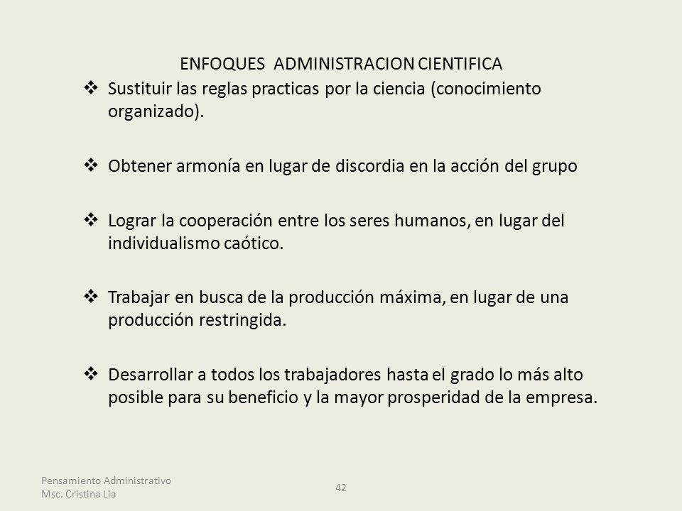 ENFOQUES ADMINISTRACION CIENTIFICA