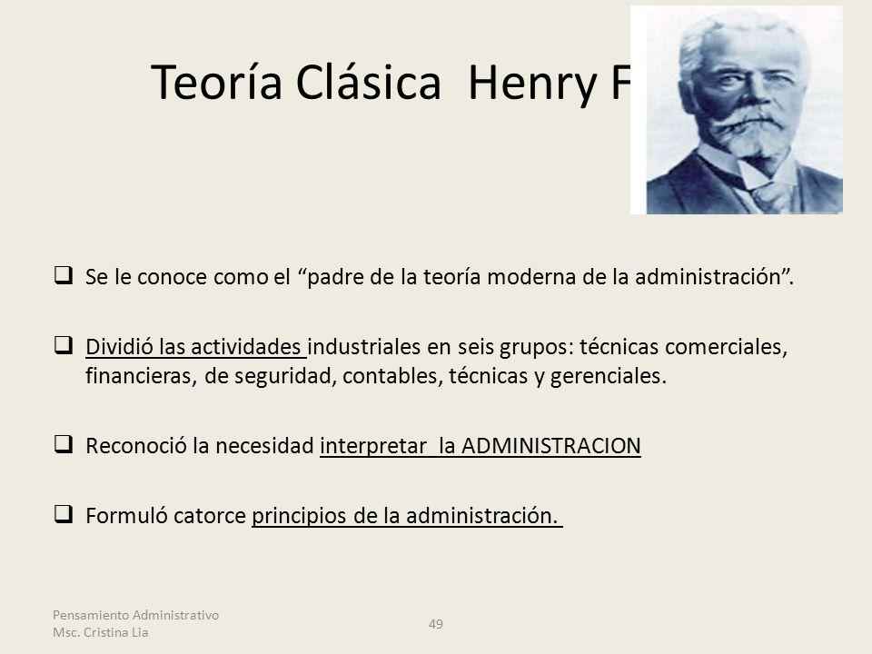 Teoría Clásica Henry Fayol