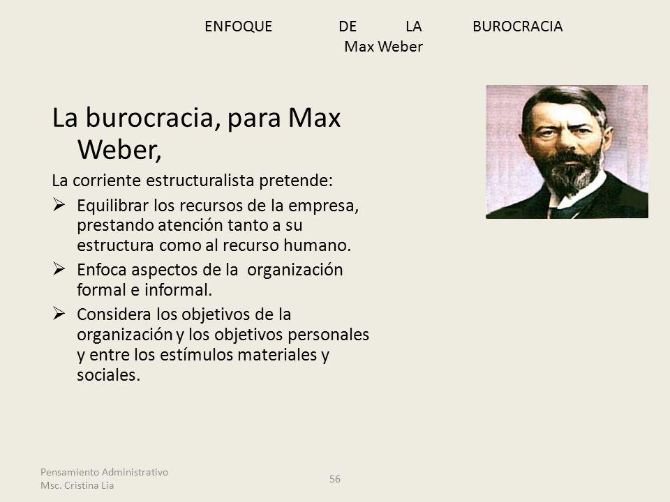 ENFOQUE DE LA BUROCRACIA Max Weber