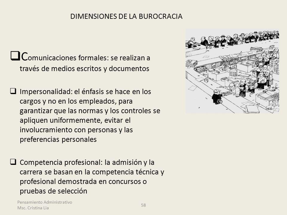 DIMENSIONES DE LA BUROCRACIA