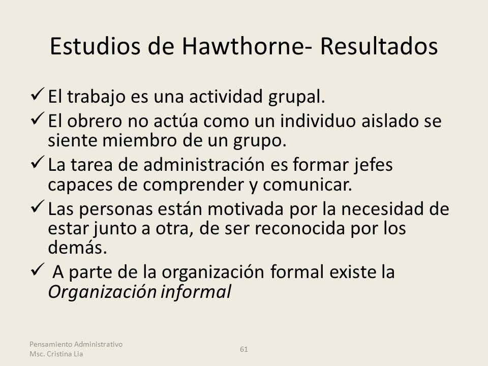 Estudios de Hawthorne- Resultados