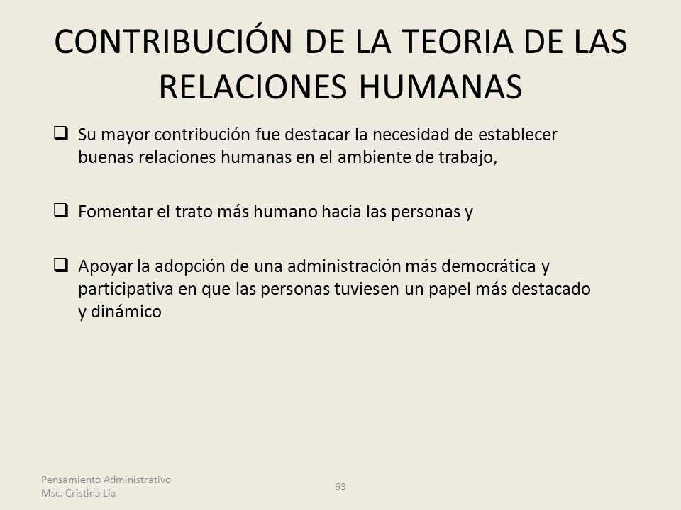 CONTRIBUCIÓN DE LA TEORIA DE LAS RELACIONES HUMANAS