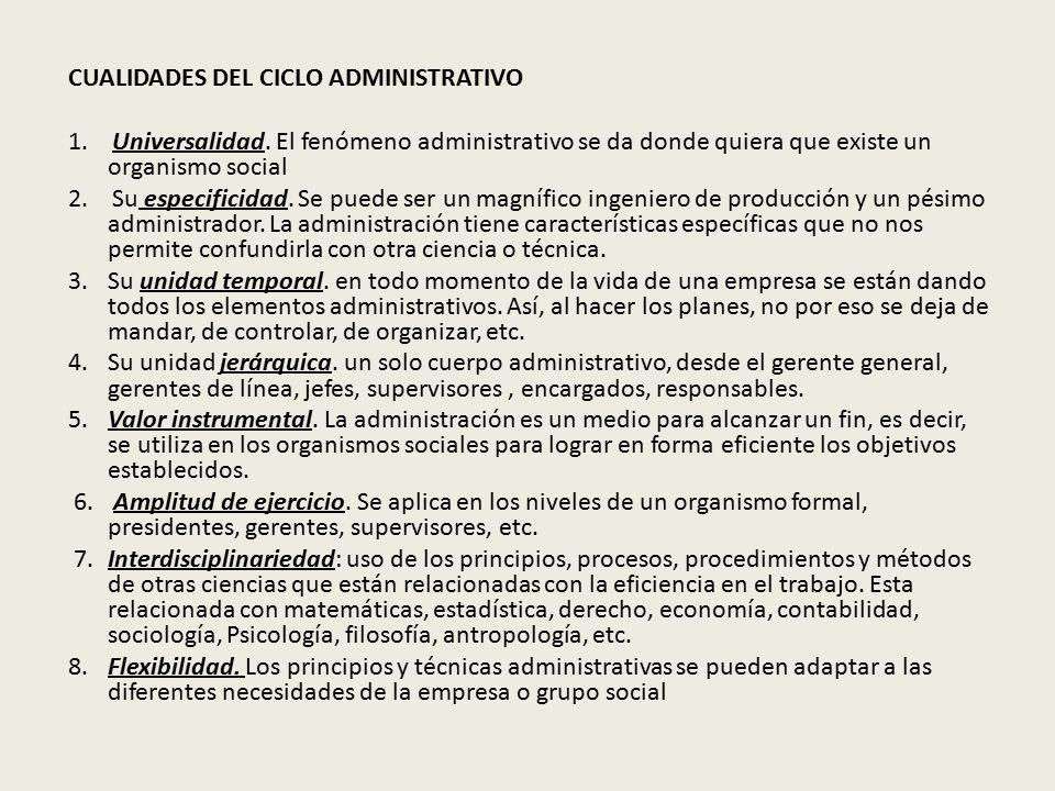 CUALIDADES DEL CICLO ADMINISTRATIVO