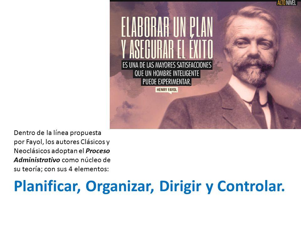 Planificar, Organizar, Dirigir y Controlar.