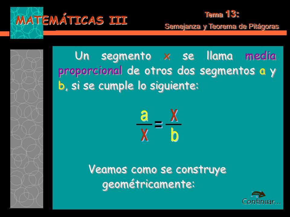 Tema 13: Semejanza y Teorema de Pitágoras. Un segmento x se llama media proporcional de otros dos segmentos a y b, si se cumple lo siguiente: