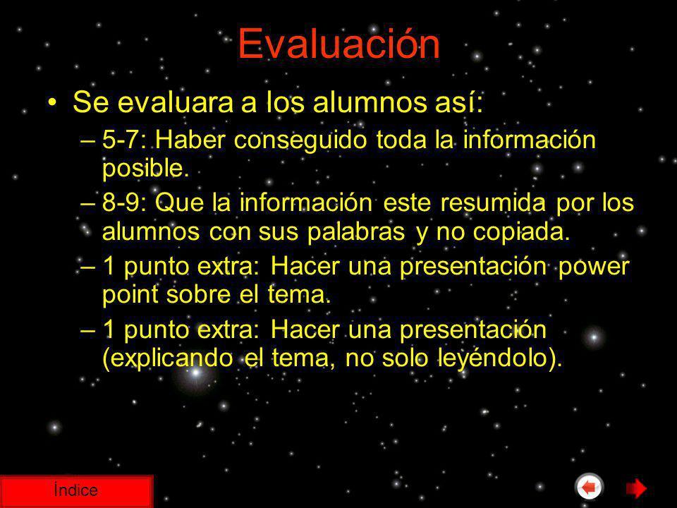 Evaluación Se evaluara a los alumnos así: