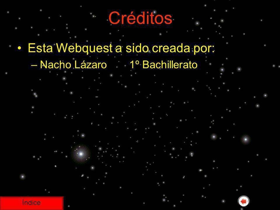 Créditos Esta Webquest a sido creada por: Nacho Lázaro 1º Bachillerato