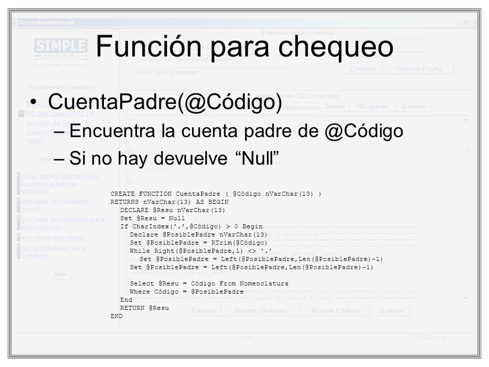 Función para chequeo CuentaPadre(@Código)