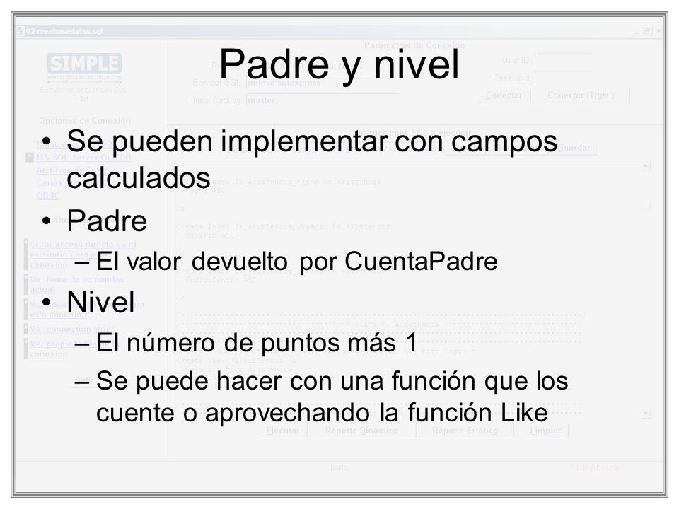 Padre y nivel Se pueden implementar con campos calculados Padre Nivel