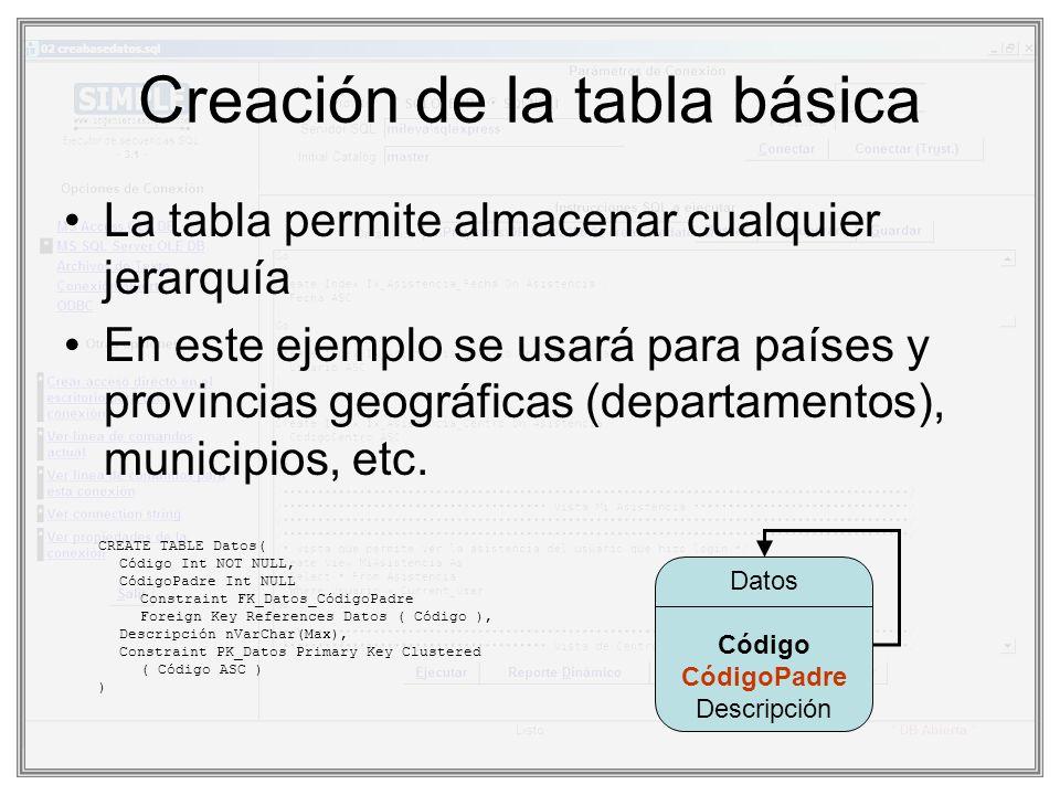 Creación de la tabla básica