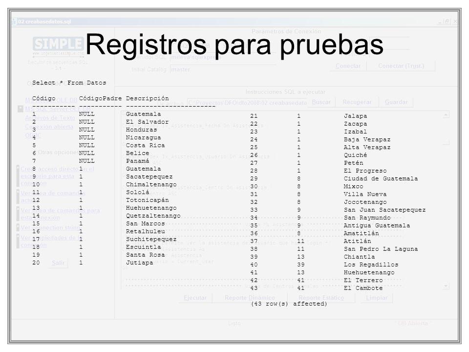 Registros para pruebas