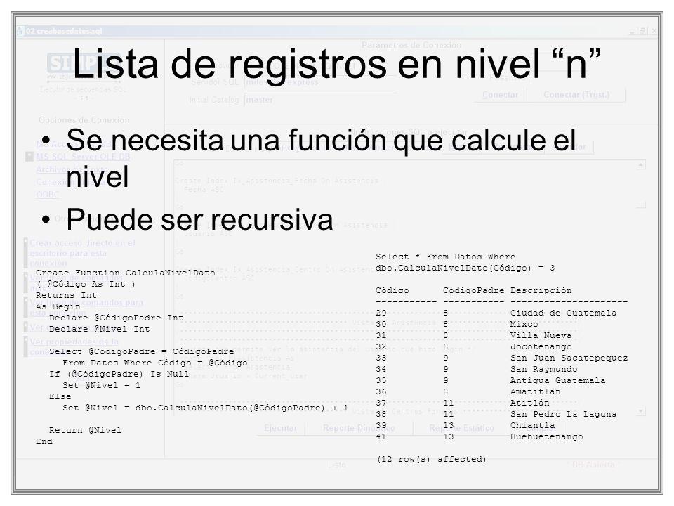 Lista de registros en nivel n