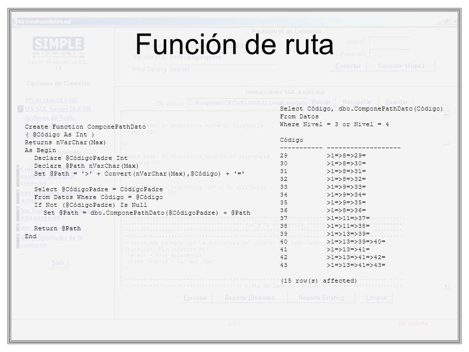 Función de ruta Select Código, dbo.ComponePathDato(Código) From Datos