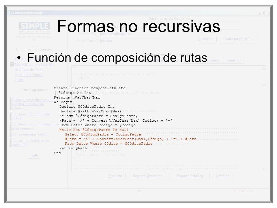 Formas no recursivas Función de composición de rutas