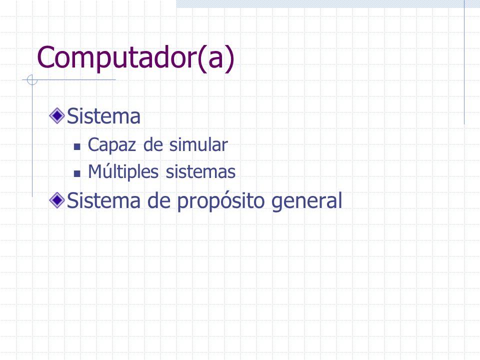 Computador(a) Sistema Sistema de propósito general Capaz de simular
