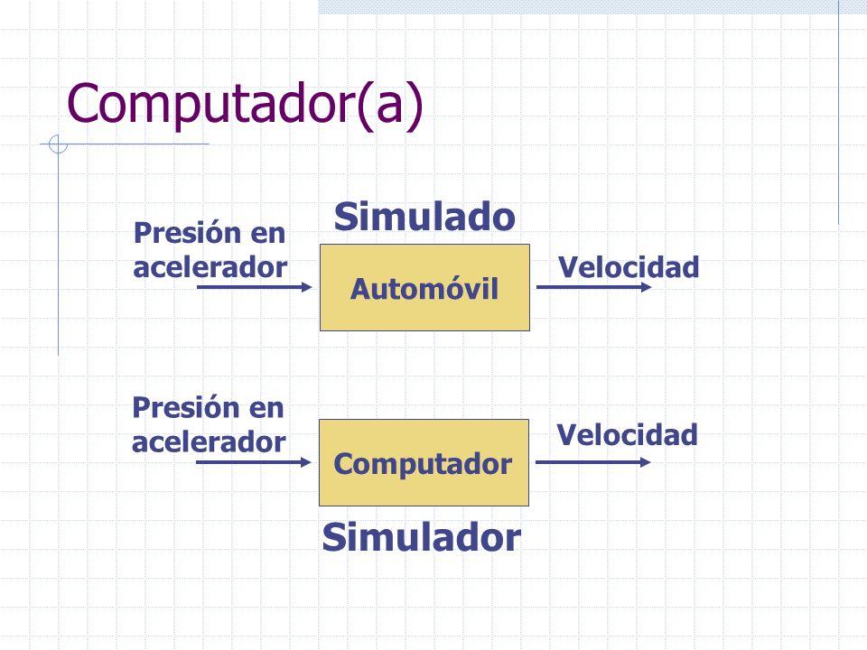 Computador(a) Simulado Simulador Presión en acelerador Velocidad
