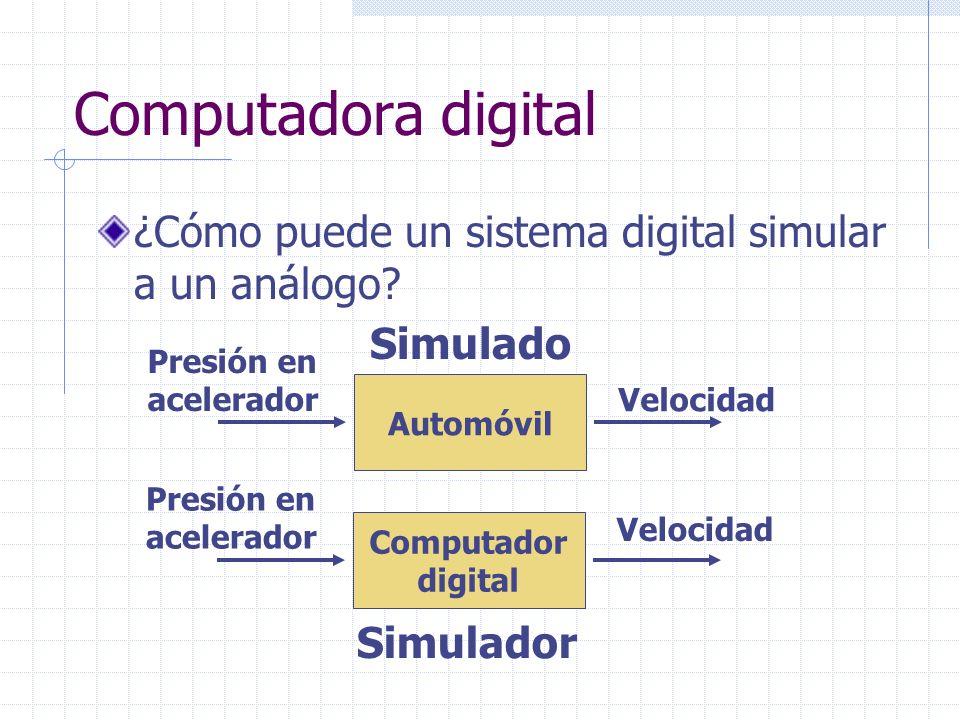 Computadora digital ¿Cómo puede un sistema digital simular a un análogo Simulado. Presión en acelerador.