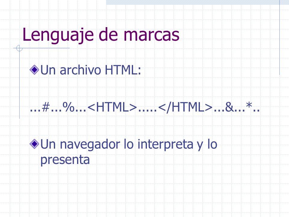 Lenguaje de marcas Un archivo HTML: