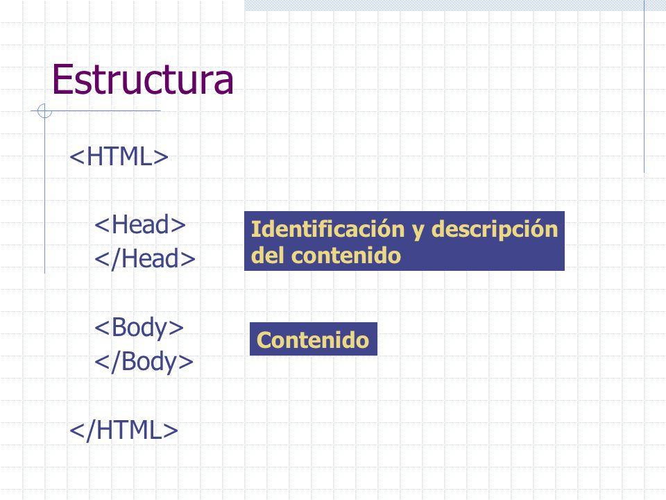 Estructura <HTML> <Head> </Head> <Body>