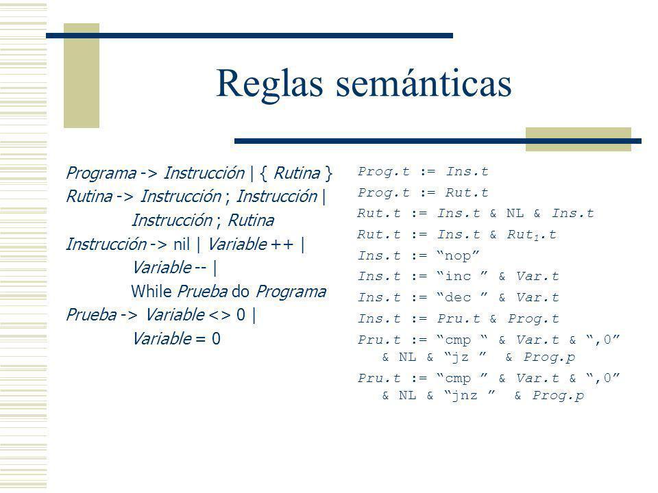 Reglas semánticas Programa -> Instrucción | { Rutina }