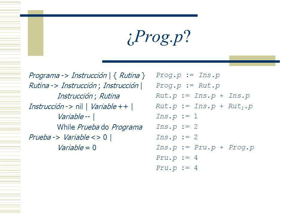 ¿Prog.p Programa -> Instrucción | { Rutina }