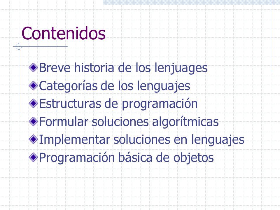 Contenidos Breve historia de los lenjuages Categorías de los lenguajes