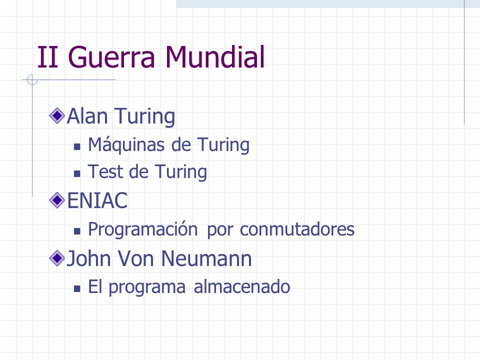 II Guerra Mundial Alan Turing ENIAC John Von Neumann