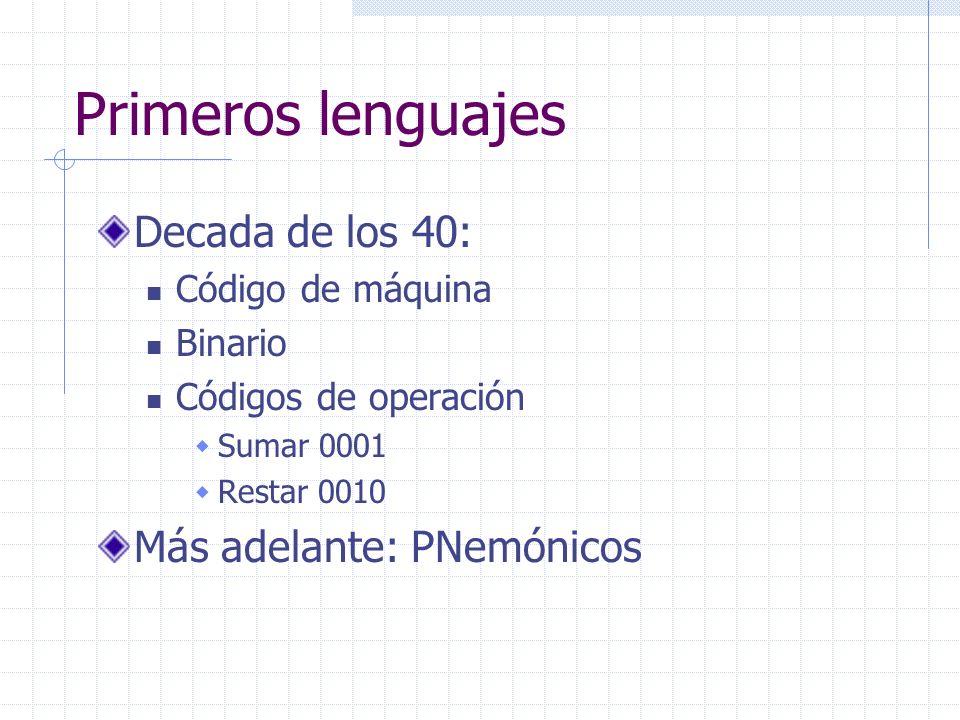 Primeros lenguajes Decada de los 40: Más adelante: PNemónicos