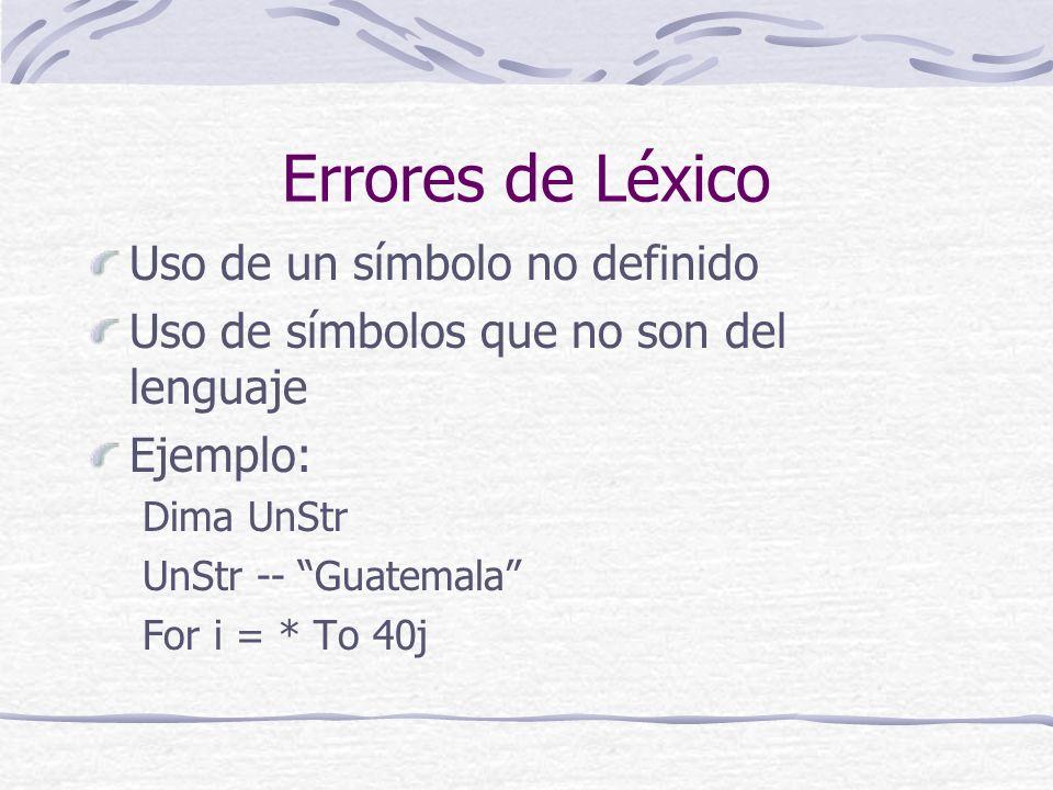Errores de Léxico Uso de un símbolo no definido
