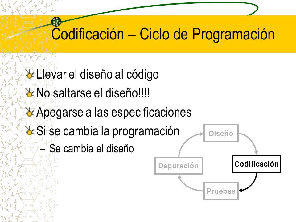 Codificación – Ciclo de Programación
