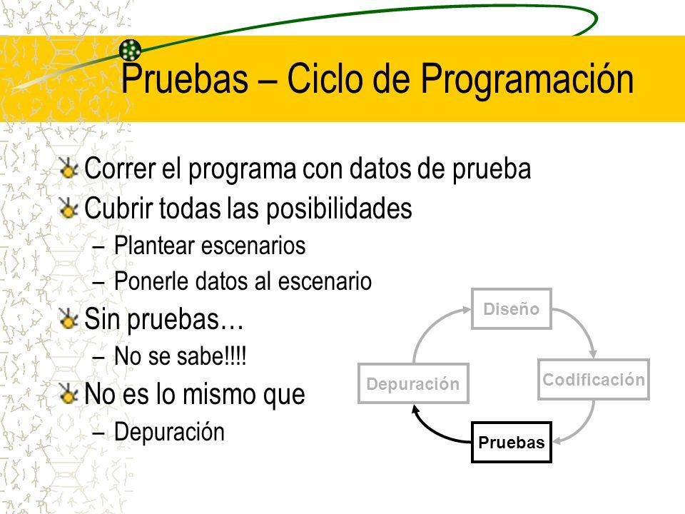Pruebas – Ciclo de Programación