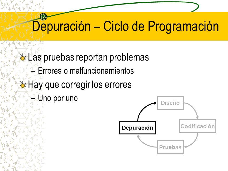 Depuración – Ciclo de Programación