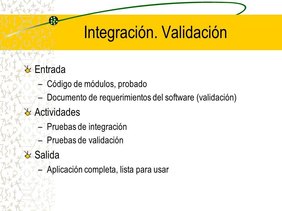 Integración. Validación