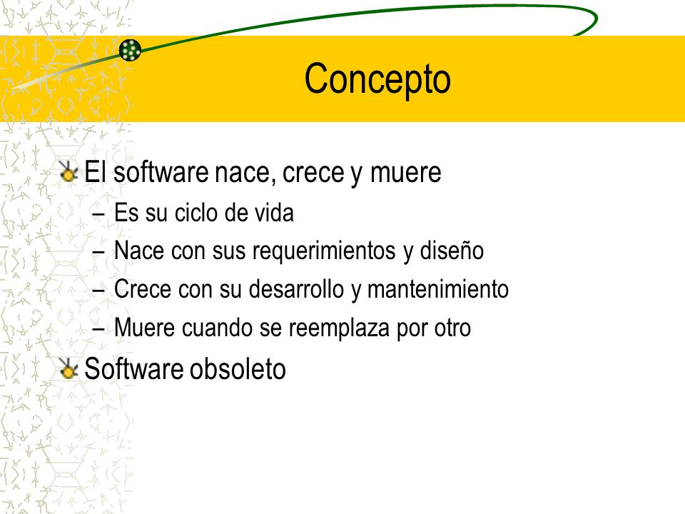 Concepto El software nace, crece y muere Software obsoleto