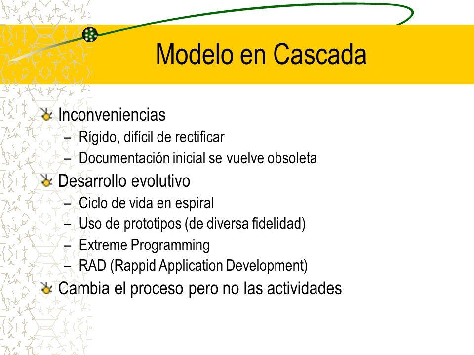 Modelo en Cascada Inconveniencias Desarrollo evolutivo