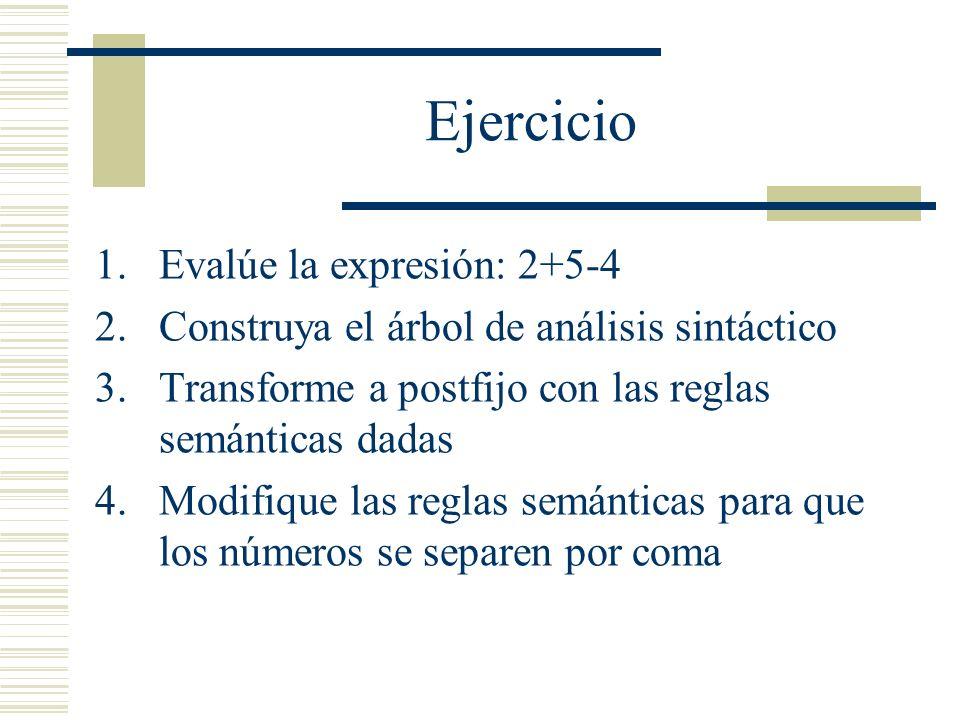 Ejercicio Evalúe la expresión: 2+5-4