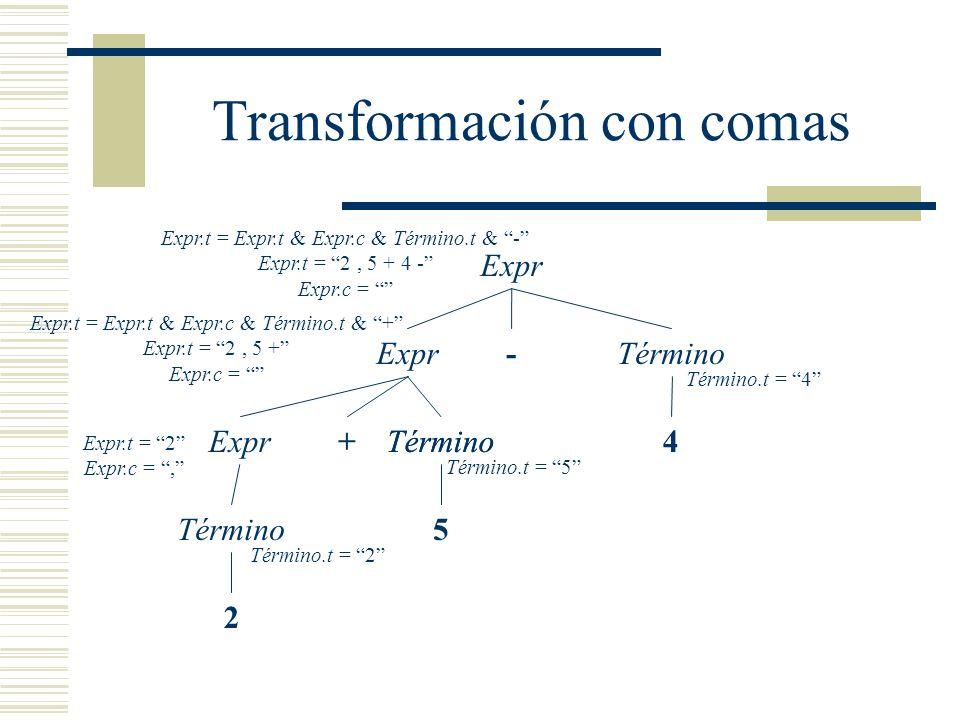Transformación con comas