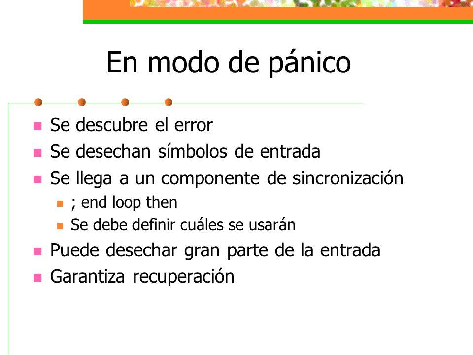 En modo de pánico Se descubre el error Se desechan símbolos de entrada
