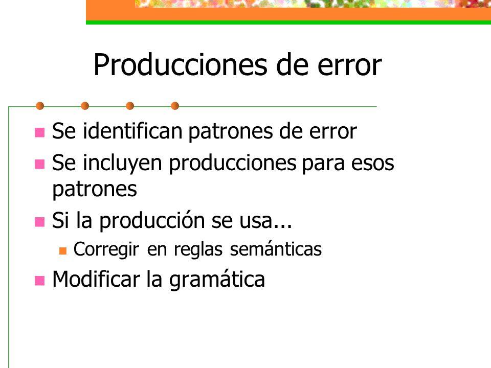 Producciones de error Se identifican patrones de error