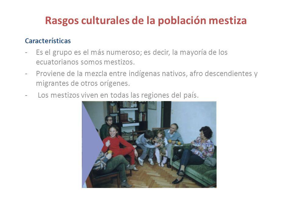Rasgos culturales de la población mestiza