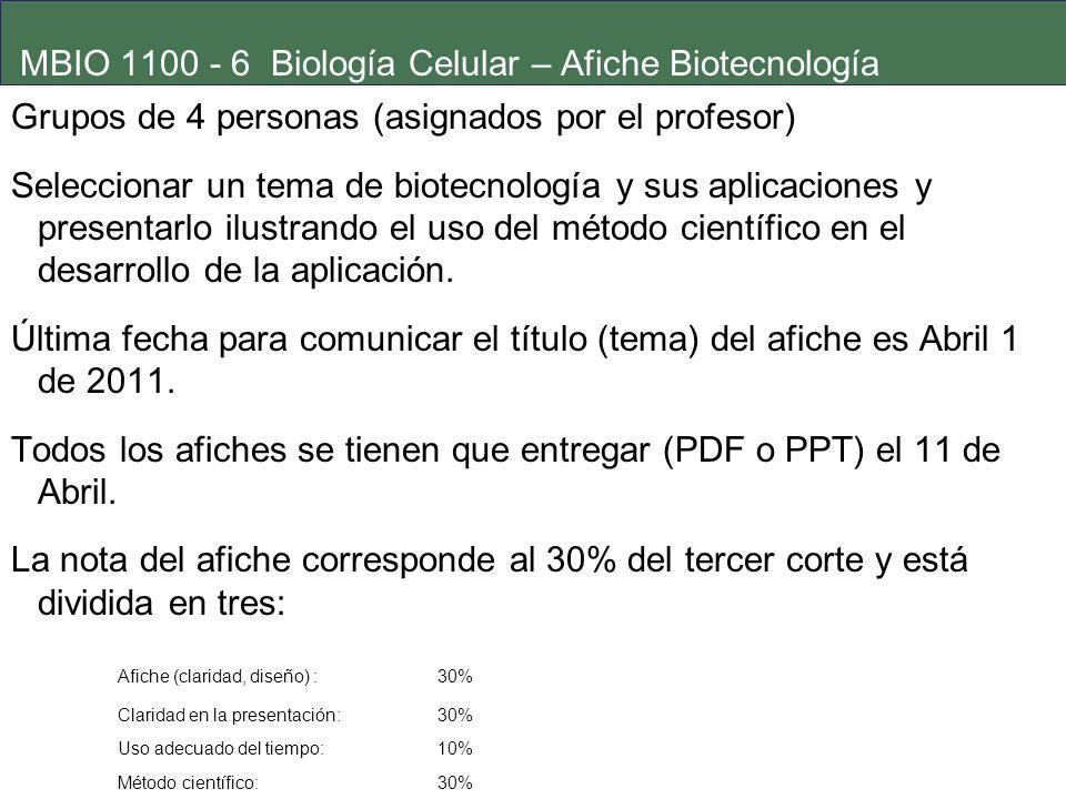 MBIO 1100 - 6 Biología Celular – Afiche Biotecnología